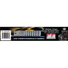 "3/8"" Drive 15 PC Nutmaster Deep Socket Set 7-22mm"
